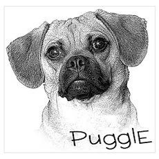 Perfect Puggle Portrait Poster