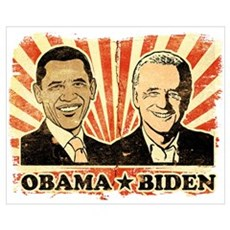 Obama Biden Portraits Poster