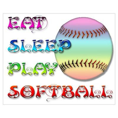 Eat Sleep Play Softball 4 Poster