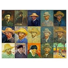 van Gogh Self Portraits Montage Poster
