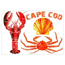 Cape Cod - Lobster, Crab and Poster