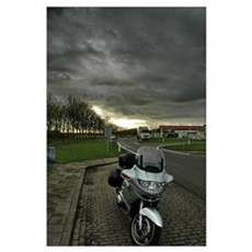 Mini motorcycle and thunderstorm Poster