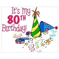It's My 80th Birthday (Party Hats) Canvas Art