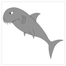 Cartoon of a Gray Angry Shark Poster