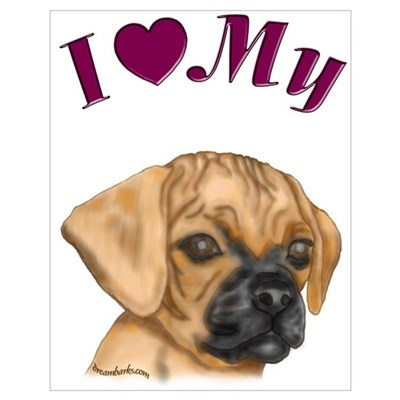 Heart Puggle Poster