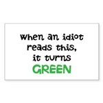 Idiot Green Sticker (Rectangle 50 pk)