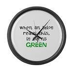 Idiot Green Large Wall Clock