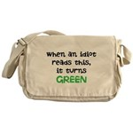 Idiot Green Messenger Bag