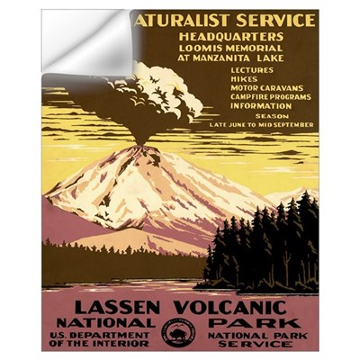 1930s Vintage Lassen Volcanic National Park Small Wall Decal