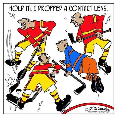 Playing Hockey W/ Contact Lenses Poster
