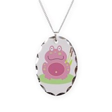 Fiona the pink Frog Necklace