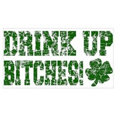 Drink Up Bitches Distressed Canvas Art