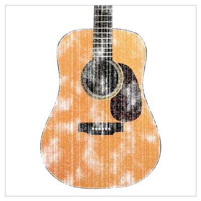 Acoustic Guitar (worn look) Poster