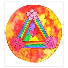 Triple Rose Heart Shield Poster