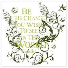 Gandhi Vine - Be the change - Green Pr Framed Print