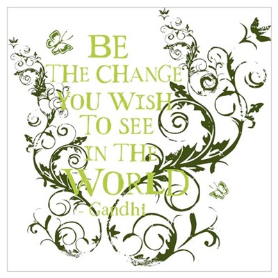 Gandhi Vine - Be the change - Green Pr Canvas Art