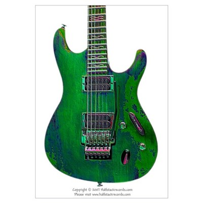 """Enamel Green"" Guitar Canvas Art"