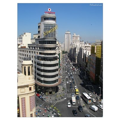 Madrid, Gran Via Framed Print