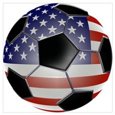 US Flag Soccer Ball Poster