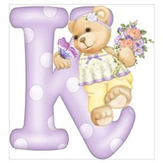Teddy Alphabet K Purple Poster