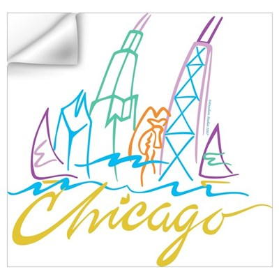 Chicagos Windy City - City Skyline Wall Decal
