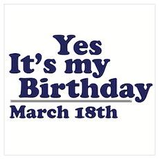 March 18 Birthday Poster
