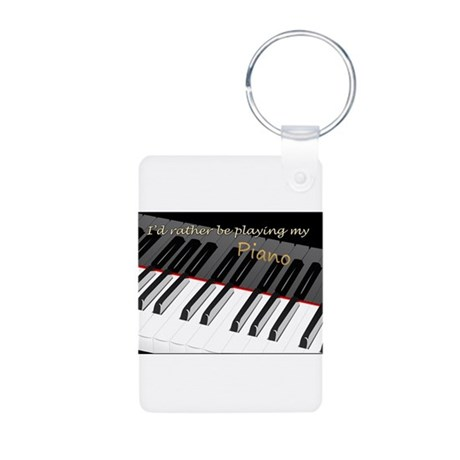 Playing My Piano Aluminum Photo Keychain
