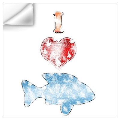Vintage I Heart fish Wall Decal