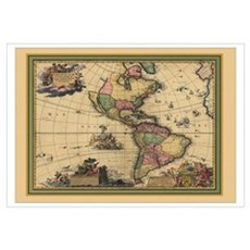 America Americas Map Canvas Art