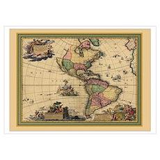 America Americas Map Poster