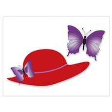 Red Hat Butterfly Poster