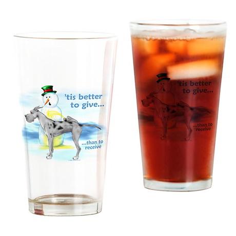 Great Dane Merle Giving Drinking Glass
