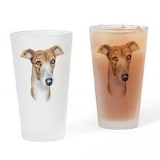 Greyhound Brindle Bust Drinking Glass
