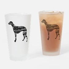 Whippet Silhouette BN Drinking Glass