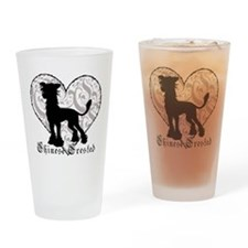 Chinese Crested Heart BW Drinking Glass