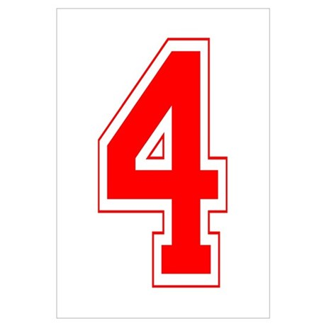 Varsity Font Number 4 Red Small Canvas 574417892
