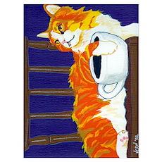 Orange Coffee Cat Poster