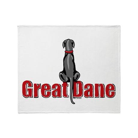 Black Great Dane UC Fence Sit Throw Blanket