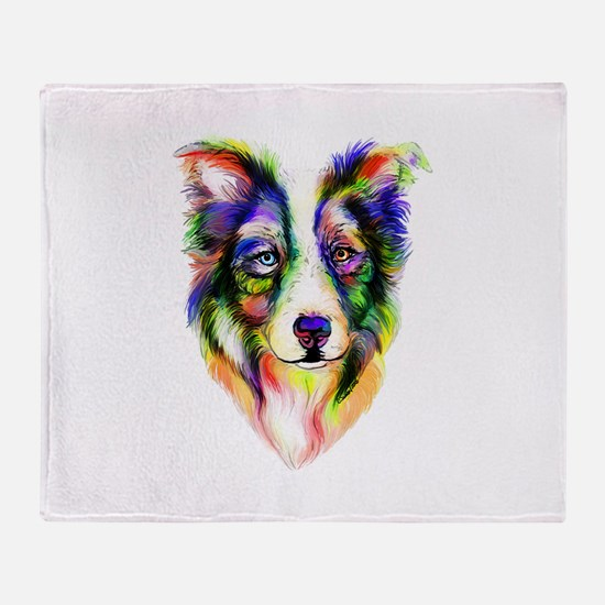 Bright Border Collie Throw Blanket