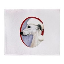 White Whippet Santa Throw Blanket
