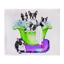 Boston Terrier TubFull Throw Blanket