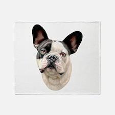 French Bulldog BW Bust Throw Blanket