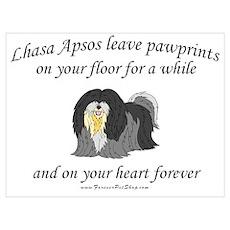 Lhasa Apso Pawprints Poster