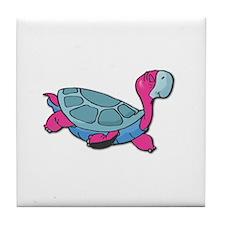 Cute Pink Turtle Tile Coaster