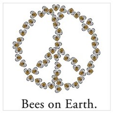 Bees on Earth (Peace) Canvas Art