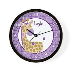 Purple Jungle Giraffe Wall Clock - Layla