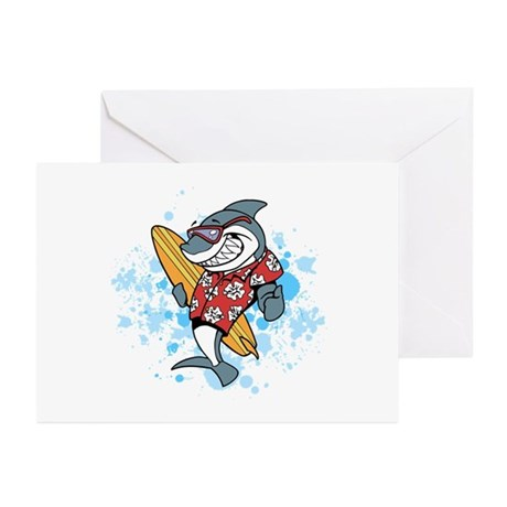 Surfing Shark with Splashes Greeting Cards (Pk of