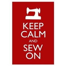 Keep Calm and Sew On Framed Print