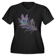 PEACOCK FEAT Women's Plus Size V-Neck Dark T-Shirt