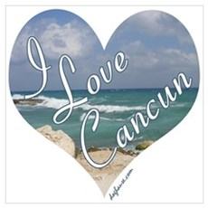 I Love Cancun Heart Poster
